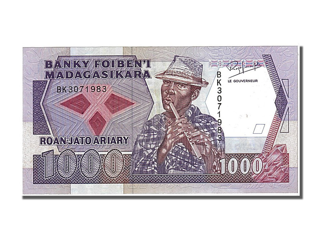 billets madagascar banknotes madagascar madagascar 1000 francs type 1988 ebay. Black Bedroom Furniture Sets. Home Design Ideas
