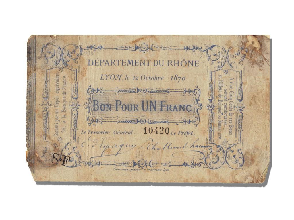 10783 bon pour 1 franc lyon tb 1 franc de 51 150 for Bon pour 1 franc chambre de commerce