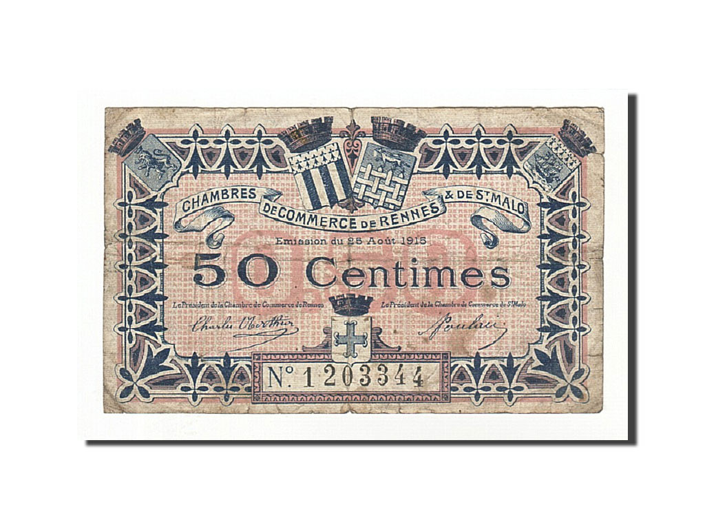 161185 france rennes et saint malo 50 centimes 1915 for Chambre de commerce de rennes 35