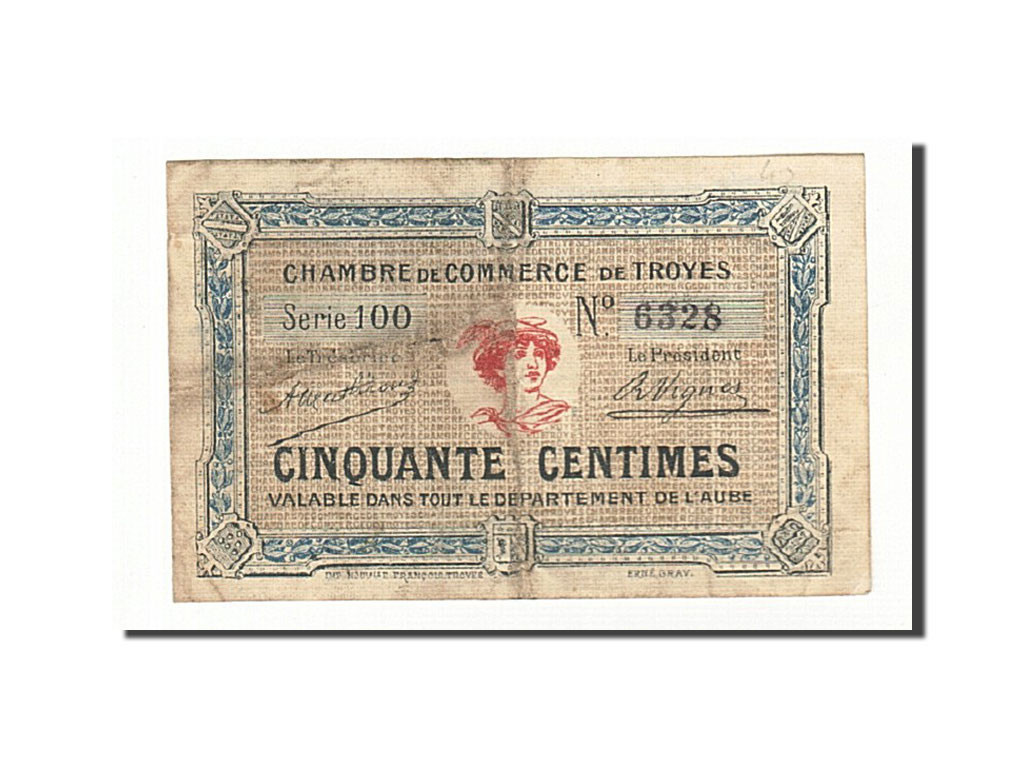 161285 france troyes 50 centimes tb pirot 124 7 tb for Chambre de commerce de troyes
