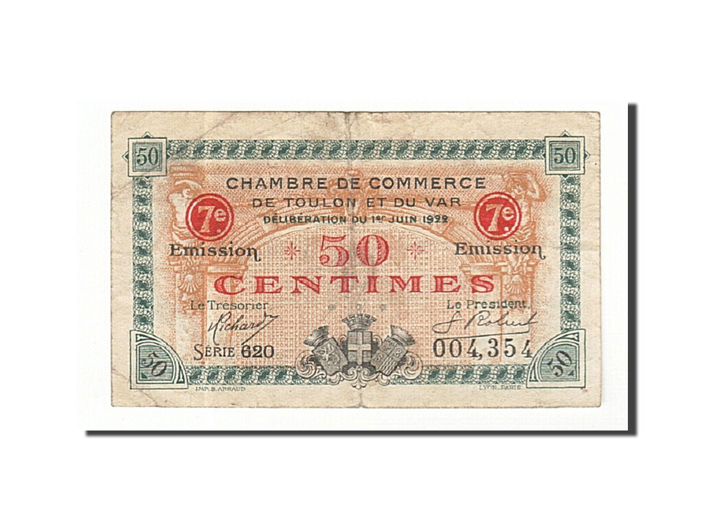 161462 france toulon 50 centimes 1922 tb pirot 121 35 tb 50 centimes de 5 15 euros. Black Bedroom Furniture Sets. Home Design Ideas