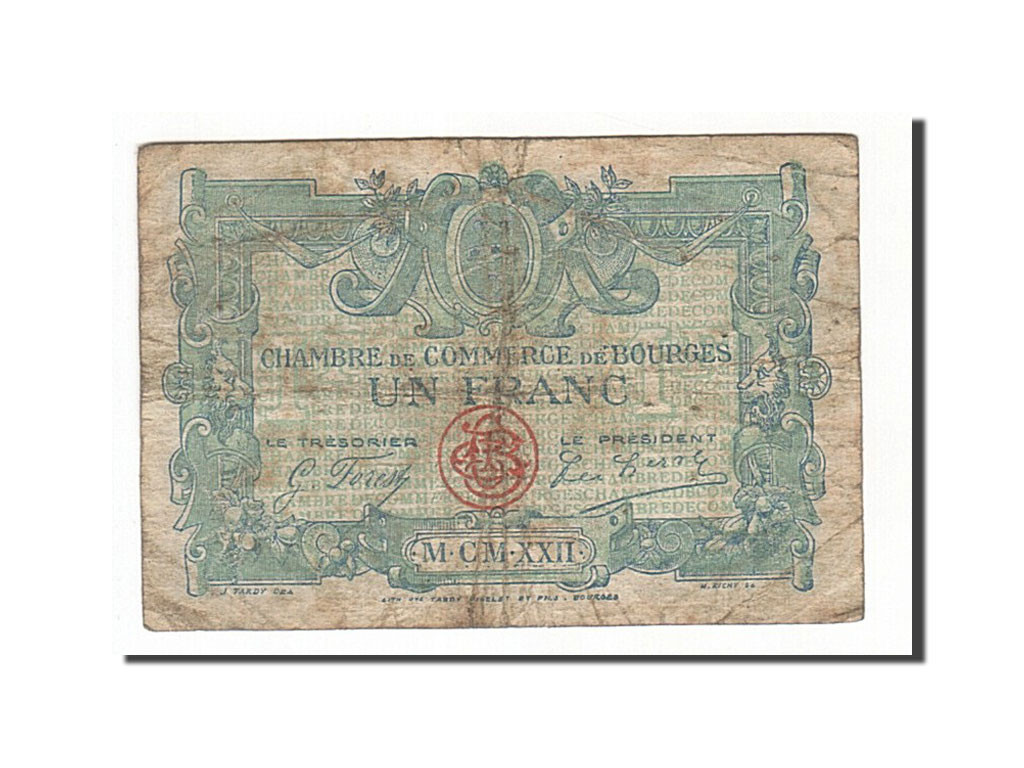 161895 france bourges 1 franc 1922 tb pirot 32 13 tb 1 franc de 5 15 euros 1922. Black Bedroom Furniture Sets. Home Design Ideas
