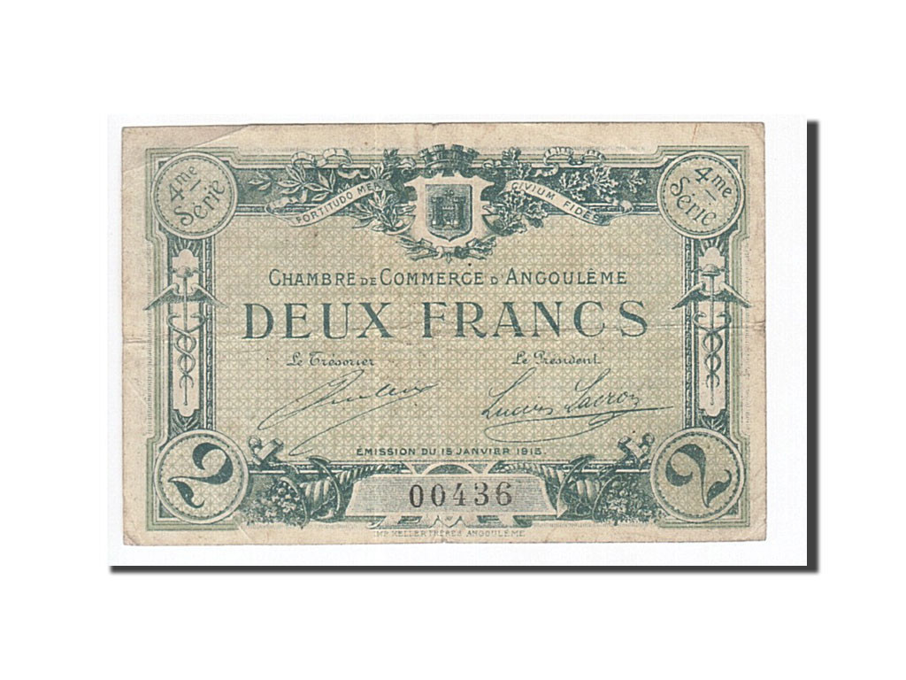 161939 france angoul me 2 francs 1915 ttb pirot 9 22 for Chambre de commerce angouleme