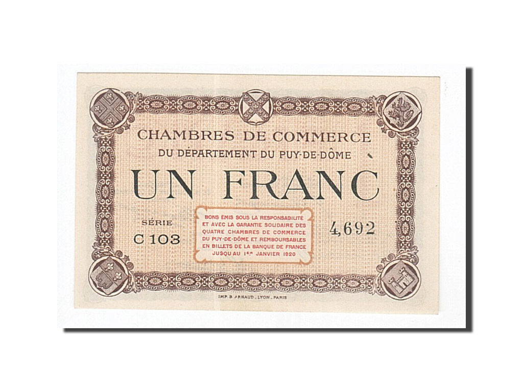 161943 france clermont ferrand 1 franc neuf pirot 103 16 neuf 1 franc de 16 50 euros. Black Bedroom Furniture Sets. Home Design Ideas