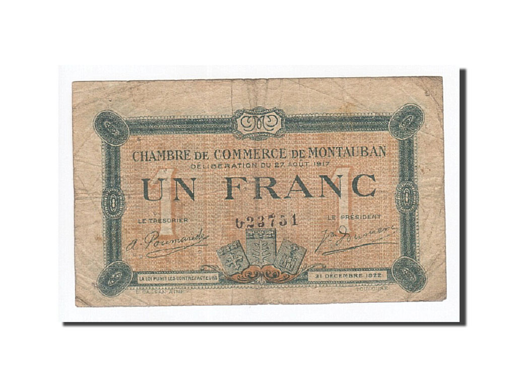 162029 france montauban 1 franc 1917 tb pirot 83 15 for Chambre de commerce montauban