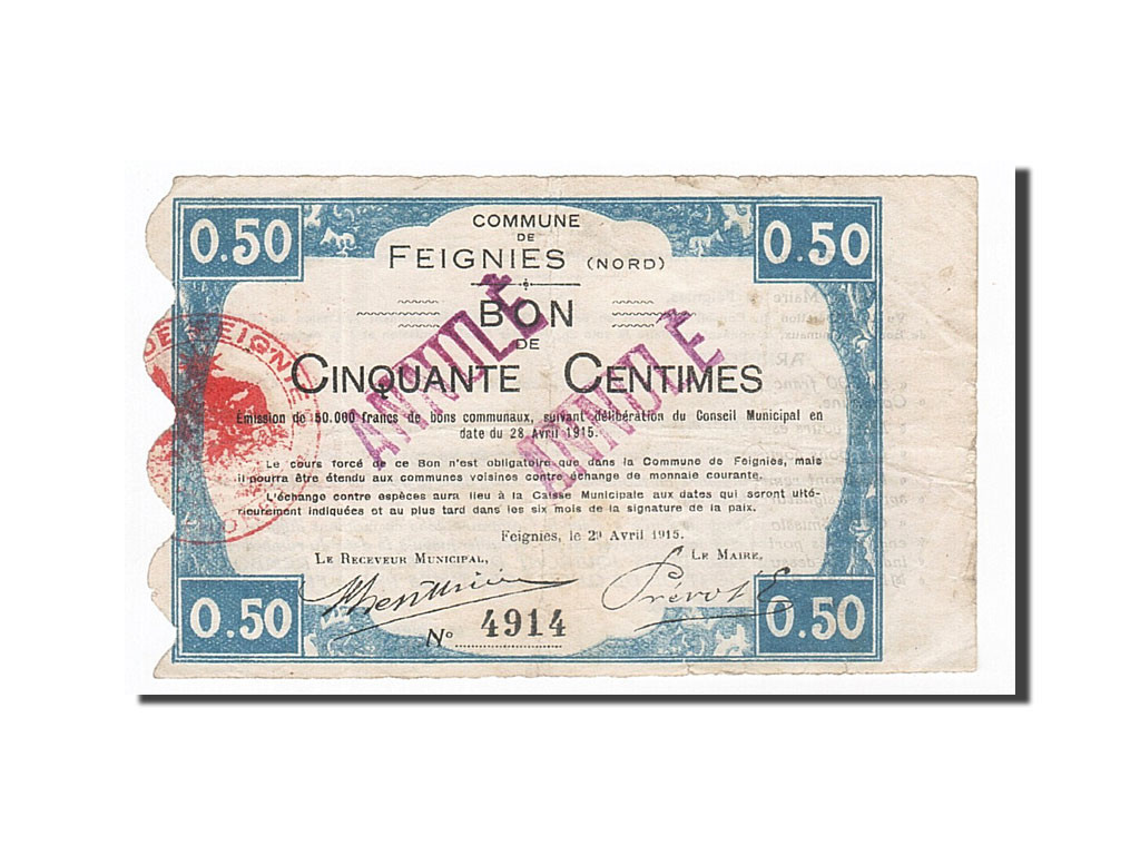 Feignies France  city images : France, Feignies, 50 Centimes, 1915, TB , ANNULE, Pirot:59 934