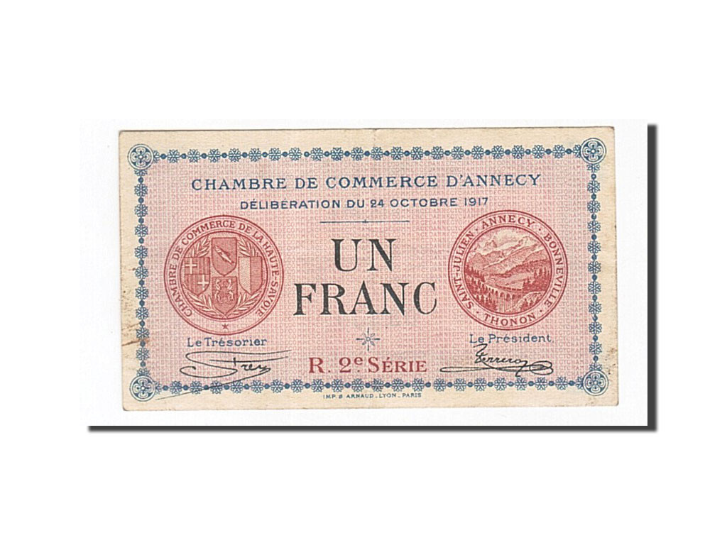 163026 france annecy 1 franc 1917 ttb pirot 10 12 for Chambre de commerce annecy