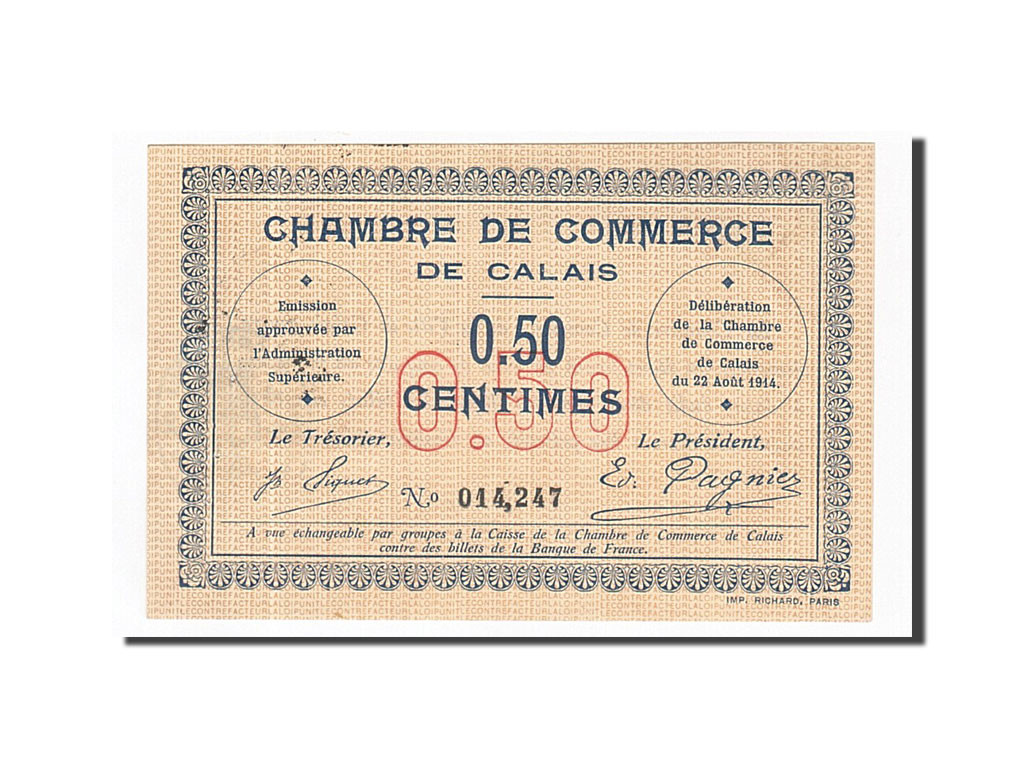 163094 france calais 50 centimes 1914 sup pirot 36 1