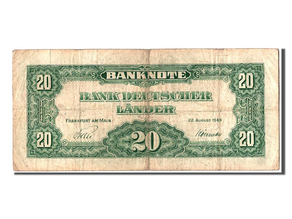 302846 allemagne 20 deutsche marke type 1949 tb 20 deutsche mark de 51 150 euros 1949. Black Bedroom Furniture Sets. Home Design Ideas