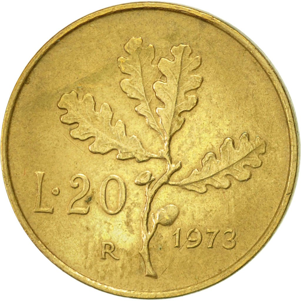 #419438 Italie, 20 Lire, 1973, Rome, TTB+, Aluminum-Bronze ...