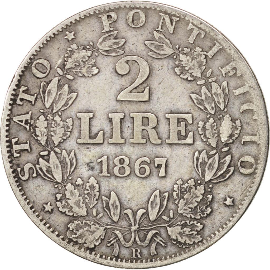 #501011 États italiens, PAPAL STATES, Pius IX, 2 Lire ...