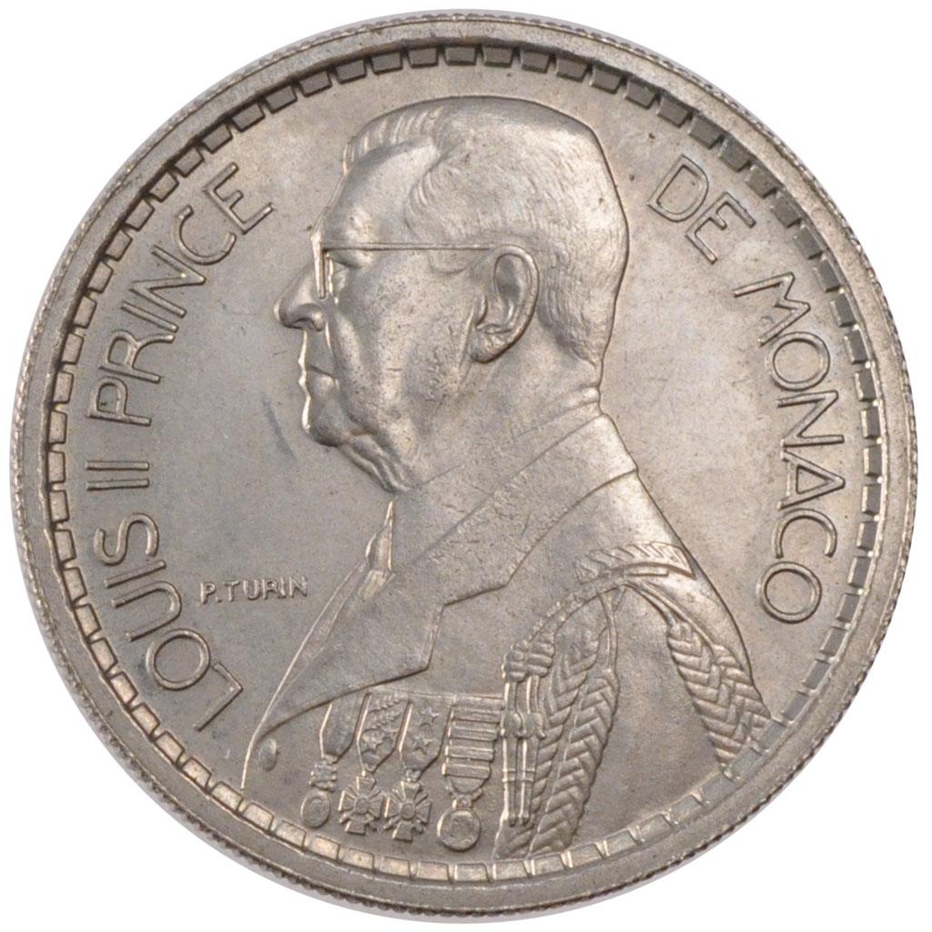 57600 monaco louis ii 10 francs sup 10 francs de 51 150 euros cupro nickel 1945. Black Bedroom Furniture Sets. Home Design Ideas