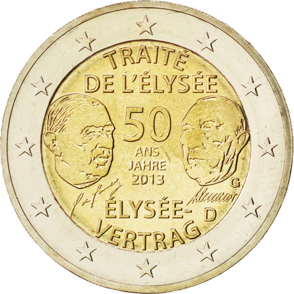 84995 Allemagne Lot 5 X 2 Euro Traité De Lelysée 2013 A D F G J