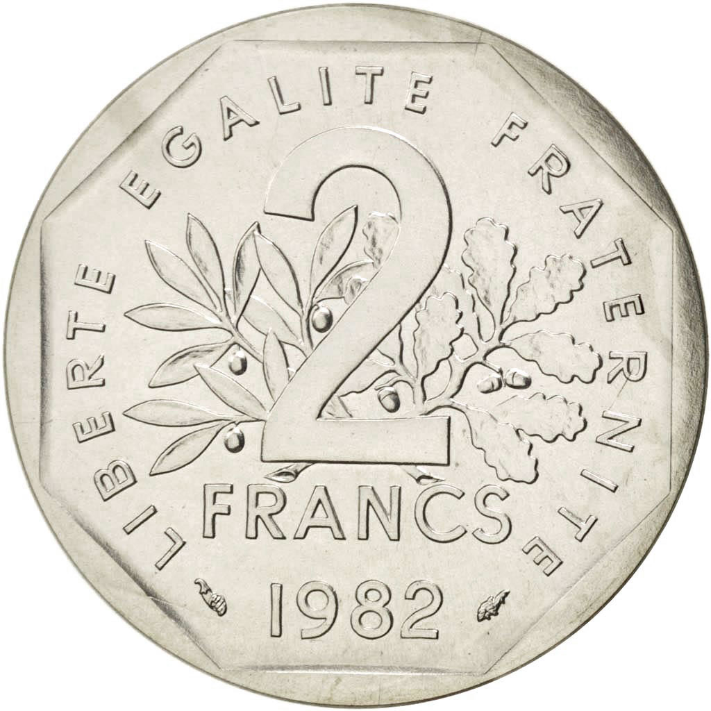 88833 v me r publique 2 francs semeuse 1982 pi fort argent km p736 fdc 2 francs de 151. Black Bedroom Furniture Sets. Home Design Ideas