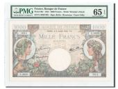 France, 1000 Francs Commerce et Industrie 1944, PMG UNC 65, Pick 96c