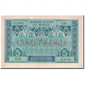 Banknote, Morocco, 5 Francs, 1924, Undated, KM:9, AU(55-58)