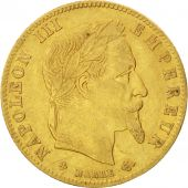 Second Empire, 5 Francs Or Napol�on III t�te laur�e 1867 Strasbourg, KM 803.2