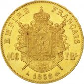 Second Empire, 100 Francs Or Napoléon III tête nue 1858 Paris, KM 786.1