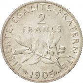 FRANCE, Semeuse, 2 Francs, 1905, Paris, KM:845.1, AU(50-53), Silver, 27
