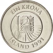 Iceland, Krona, 1991, SUP+, Nickel plated steel, KM:27A