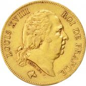 France, Louis XVIII, Louis XVIII, 40 Francs, 1824, Paris, TTB, Gold, KM:713.1
