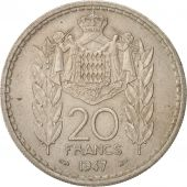 Monaco, Louis II, 20 Francs, Vingt, 1947, EF(40-45), Copper-nickel, KM:124