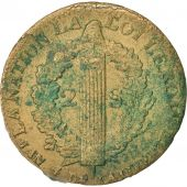 France, 2 Sols, 1792 W point, An4, Arras, TB, Bronze, Gadoury:25