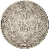 France, Napoleon III, 20 Centimes, 1860, Paris, VF(20-25), Silver, KM 778.1
