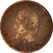France, Napoleon III, Centime, 1855, Lille, VG(8-10), Bronze, KM 775.7,Gadoury86