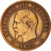 France, Napoleon III, 2 Centimes, 1853, Paris, EF(40-45), Bronze, KM 776.1