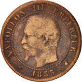 France, Napoleon III, 2 Centimes, 1853, Bordeaux, F(12-15), Bronze, KM 776.5