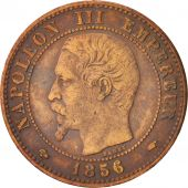 France, Napoleon III, 2 Centimes, 1856, Paris, EF(40-45), Bronze, KM 776.1