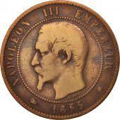 France, Napoleon III, 10 Centimes, 1855, Strasbourg, F(12-15), KM 771.3
