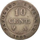 France, Napoléon I, 10 Centimes, 1808, Paris, EF(40-45), Billon, KM:676.1