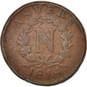 FRENCH STATES, ANTWERP, 10 Centimes, 1814, Anvers, F(12-15), Bronze, KM:5.3