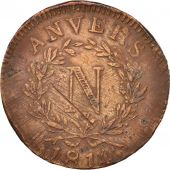 FRENCH STATES, ANTWERP, 10 Centimes, 1814, Anvers, TB, Bronze,KM:5.4,Gadoury191c