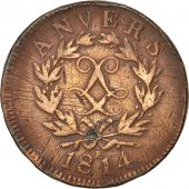 FRENCH STATES, ANTWERP, 10 Centimes, 1814, Anvers, VF(20-25), Bronze, KM:7.2