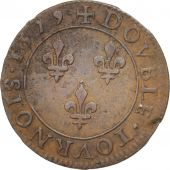 France, Henri III, Double Tournois, 1579, Paris, TTB, Cuivre, Sombart:4068