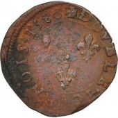France, Double Tournois, 1580, Tours, VF(30-35), Copper, Sombart:4104