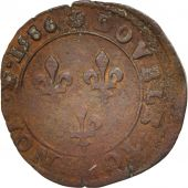 France, Double Tournois, 1586, Saint Lô, VF(20-25), Copper, Sombart:4096