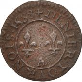 France, Denier Tournois, 1588, Paris, TTB, Cuivre, Sombart:4074