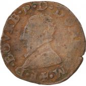 France, DOMBES, Double Tournois, 1585, VF(20-25), Copper, Boudeau:1065
