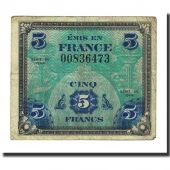 France, 5 Francs, 1944 Flag/France, 1944, B+, Fayette:VF17.1, KM:115a