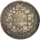France, Napoléon I, 5 Francs, 1806, Bordeaux, VF(20-25), Silver, KM:673.7