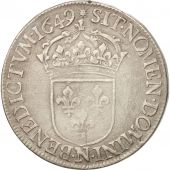France, Louis XIV, Ecu, 1649, Montpellier, VF(30-35), Silver, Gadoury:202