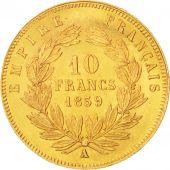 France, Napoleon III, 10 Francs, 1859, Paris, MS(63), Gold, KM 784.3,Gadoury1014