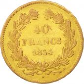 France, Louis-Philippe, 40 Francs, 1834, Paris, TTB, Or, KM:747.1, Gadoury:1106
