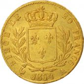 France, Louis XVIII, 20 Francs, 1814, Paris, AU(50-53), Gold,KM706.1,Gadoury1026