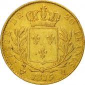 France, Louis XVIII, 20 Francs, 1815, Perpignan, VF(30-35), Gold, KM 706.5