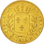 France, Louis XVIII, 20 Francs, 1815, London, AU(55-58),Gold,KM706.7,Gadoury1027